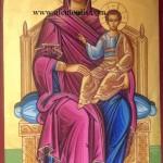 Παναγία ένθρονη, δια χειρός Μιλτιάδη Αφεντούλη - Theotokos and Child enthroned, by the hand of Miltiadis Afentoulis