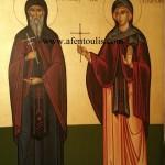 Όσιος Πατάπιος και Αγία Υπομομή, δια χειρός Μιλτιάδη Αφεντούλη - Saint Patapios and Saint Ypomoni, by the hand of Miltiadis Afentoulis