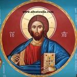 Αγιογράφος Μιλτιάδης Αφεντούλης / Πρόσωπο, Κεφάλι Παντοκράτορα (4 μ.) - Iconographer Miltiadis Afentoulis / Head - Face of Pantocrator (12 ft)