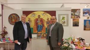 Συμμετοχή σε ομαδική εικαστική έκθεση του Ομίλου για την Unesco Πειραιώς και Νήσων στην Γκαλερί New York Art Connection στη Νέα Υόρκη, από 2 έως 10 Μαίου 2015. Φωτογραφία: Με τον Πρόεδρο Ομίλου για την UNESCO Πειραιώς και Νἠσων & Αντιπρόεδρο της Παγκόσμιας Ομοσπονδίας Ομίλων, Συλλόγων και Κέντρων της UNESCO (WFUCA) για την Ευρώπη και τη Βόρεια Αμερική, κ. Ιωάννη Μαρωνίτη. / Group Art Exhibition of the Club For UNESCO Of Pireaus and Islands at the New York Art Connection Gallery from 2 to 10 May 2015 in New York. Photograph: With the Vice President of World Federation of UNESCO Clubs, Centers and Associations (WFUCA) for Europe and North America, Mr Ioannis Maronitis.